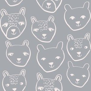 nursery animal baby fabric grey cute bears