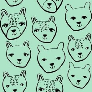 nursery animal baby fabric mint cute bears