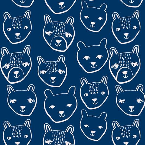 nursery animal baby fabric navy cute bears  fabric by charlottewinter on Spoonflower - custom fabric