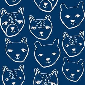 nursery animal baby fabric navy cute bears