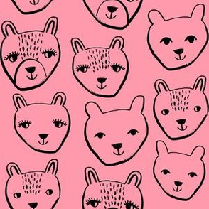 nursery animal baby fabric pink cute bears