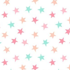 stars // mermaid collection peach mint pink coral star fabric girls nursery baby stars design