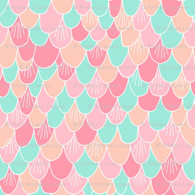 mermaid scales // fish scale mermaid peach pink mint coral girls fabric cute abstract nautical summer design