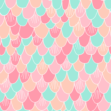 mermaid scales // fish scale mermaid peach pink mint coral girls fabric cute abstract nautical summer design fabric by andrea_lauren on Spoonflower - custom fabric