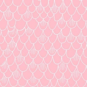 scales // mermaid fish scales pink scallops scallop fabric cute girls fabric
