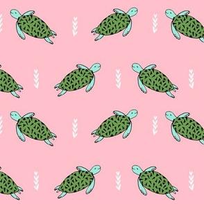 sea turtle // pink and green sea turtle ocean animals cute girls fabric andrea lauren design