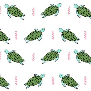 sea turtles // cute white and green sea turtles fabric ocean animals baby animals sea ocean nautical summer fabric