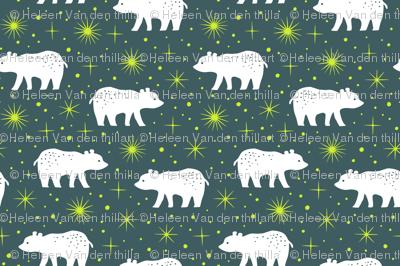 Polar bear with northern light stars (dark)