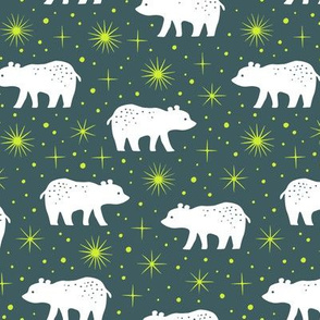 Polar bear with northern light stars (dark)