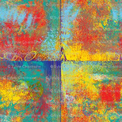 PAINTED ABSTRACT INCA SYMBOL TILES warm MEDIUM red yellow turquoise aqua