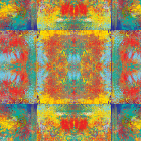 PAINTED ABSTRACT INCA SYMBOL TILES warm MEDIUM red yellow turquoise aqua fabric by paysmage on Spoonflower - custom fabric