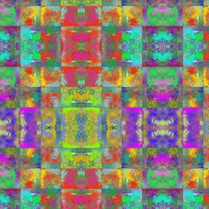 ABSTRACT INCA MULTICOLOR SQUARES GEOMETRIC