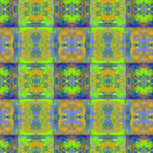 PAINTED ABSTRACT INCA BLUE GREEN MUSTARD SYMBOL SQUARES GEOMETRIC