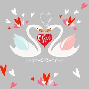 "7"" Valentine Swans - Grey"