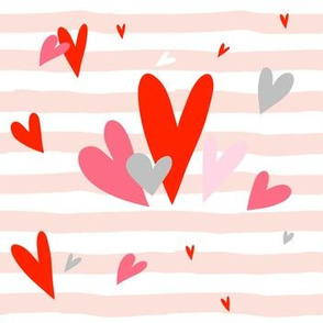 Valentine Hearts / Stripes / Pink