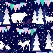 Woodland Animals and Northern Lights / Arctic Bear and Fox in the Forest /