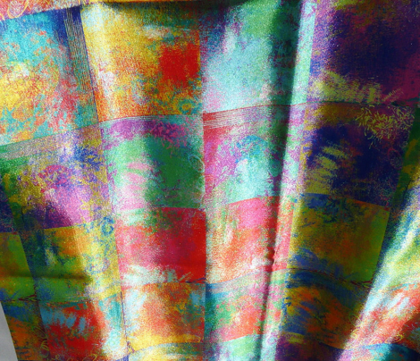 """ABSTRACT INCAS PAINTED 2"""" SQUARES MIX RED PURPLE YELLOW BLUE"""