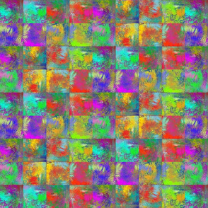 "ABSTRACT INCAS PAINTED 2"" SQUARES MIX RED PURPLE YELLOW BLUE"