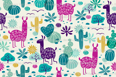 Llamas in the desert turquoise/purple (small)