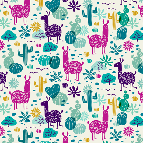 Llamas in the desert turquoise/purple (small) fabric by heleen_vd_thillart on Spoonflower - custom fabric