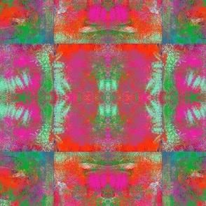 PAINTED ABSTRACT INCA medium SYMBOL SQUARES GEOMETRIC TILES RED PINK SAGE