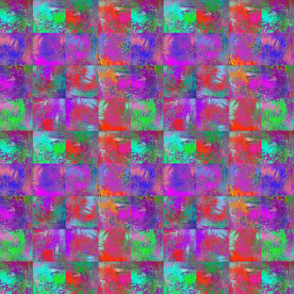 "ABSTRACT INCA PAINTED 2"" SQUARES MIX RED PURPLE PINK GREEN AQUA BLUE"