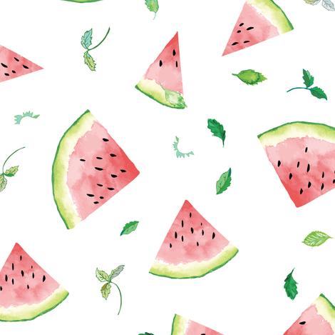 Ambrosia Watermelon (white) fabric by nouveau_bohemian on Spoonflower - custom fabric