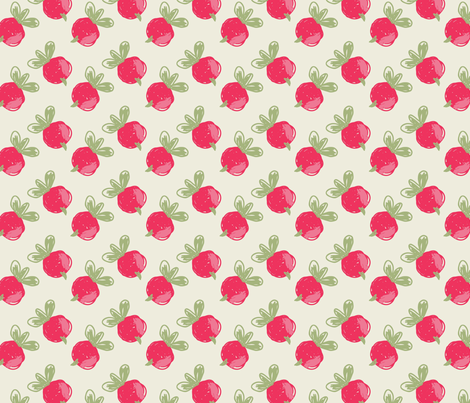Rough sketched pink berries fabric by zebra_finch on Spoonflower - custom fabric