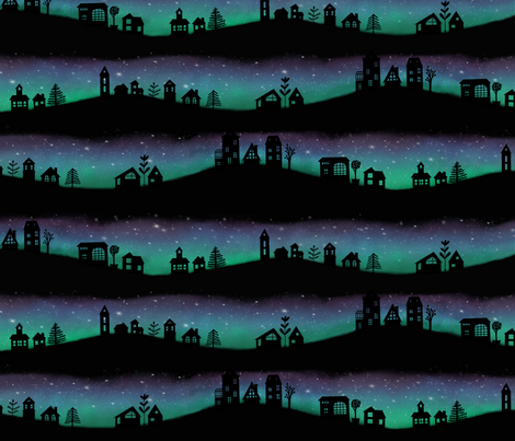 Village Aurora fabric by katielee on Spoonflower - custom fabric