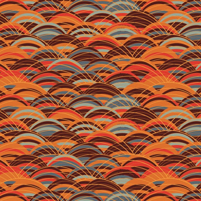 Striped arcs brown orange with overlapping grid