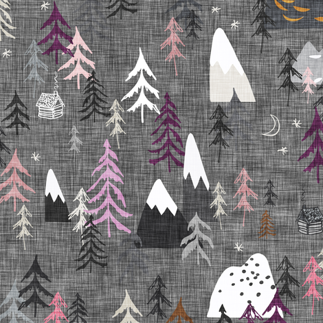Forest Peaks (charcoal + plum) fabric by nouveau_bohemian on Spoonflower - custom fabric