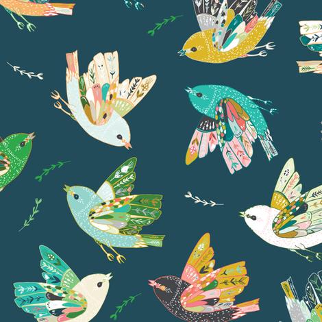Ambrosia Folk Birds (midnight)  fabric by nouveau_bohemian on Spoonflower - custom fabric