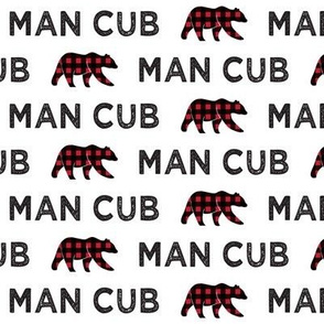 man cub || bear plaid on white