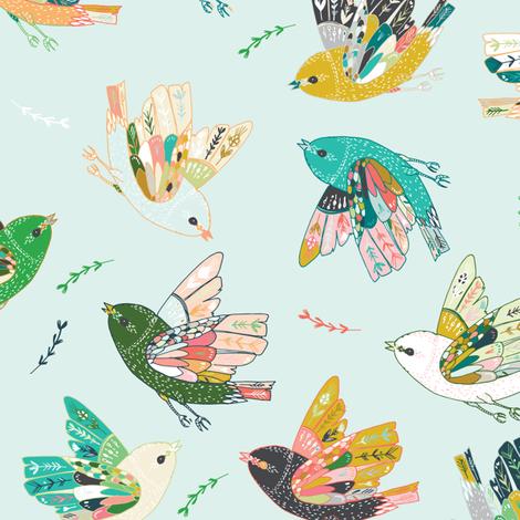 Ambrosia Folk Birds (blue) fabric by nouveau_bohemian on Spoonflower - custom fabric
