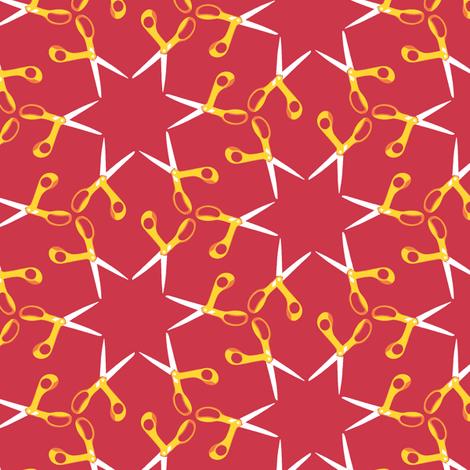 Scissor stars - yellow on red, small fabric by weavingmajor on Spoonflower - custom fabric