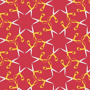Scissor stars - yellow on red, small