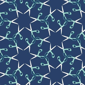 Scissor stars - aqua on navy, small