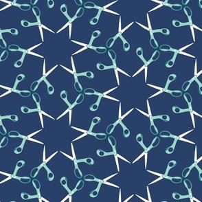 Scissor stars - aqua on navy, small