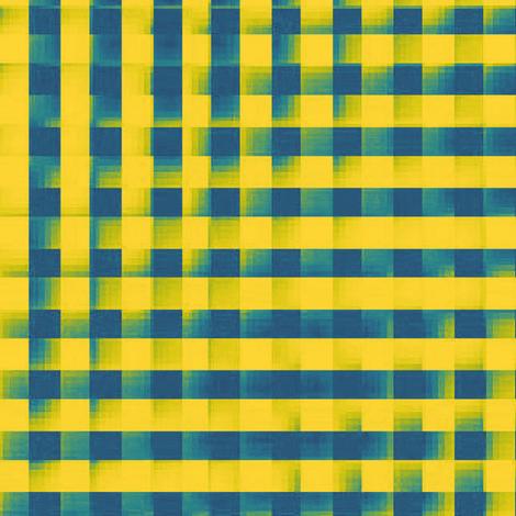 XL glitchy gingham - yellow, teal, navy fabric by weavingmajor on Spoonflower - custom fabric