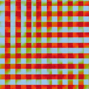 XL glitchy plaid - red, orange, olive, light blue