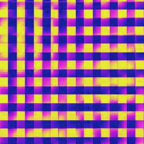 XL glitchy plaid - blue, purple, pink, yellow