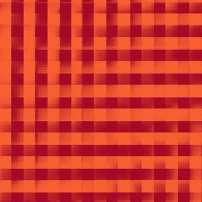 XL glitchy red and orange plaid