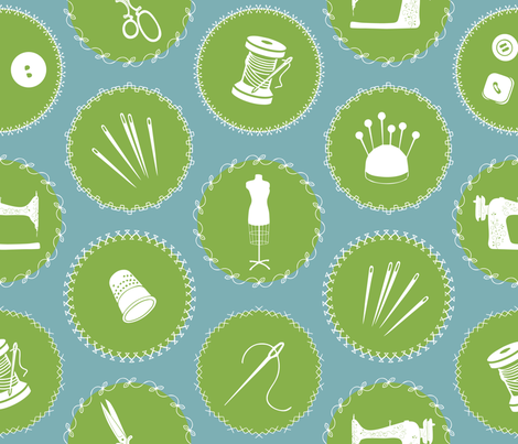 Sewing_Greenery_Medallions fabric by kfrogb on Spoonflower - custom fabric