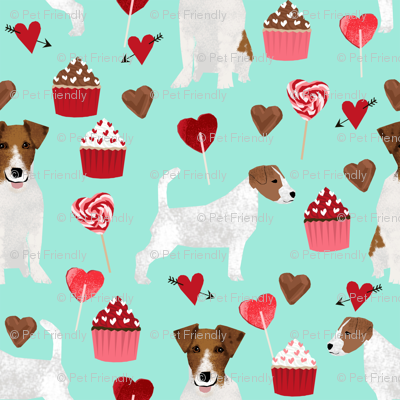 jack russell terrier valentines love fabric - aqua - cute dog design fabric