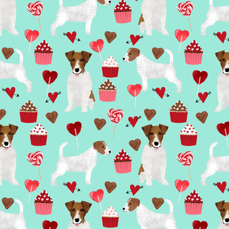 jack russell terrier valentines love fabric - aqua - cute dog design fabric fabric by petfriendly on Spoonflower - custom fabric