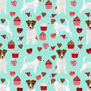 jack russell terrier valentines love fabric - aqua - cute dog design fabric