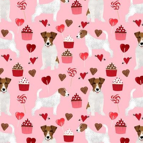 jack russell terrier valentines love fabric - blossom - cute dog design fabric