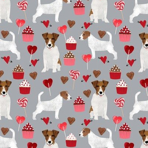 jack russell terrier valentines love fabric - grey - cute dog design fabric