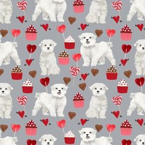 maltese valentines love fabric - grey - cute dog design fabric