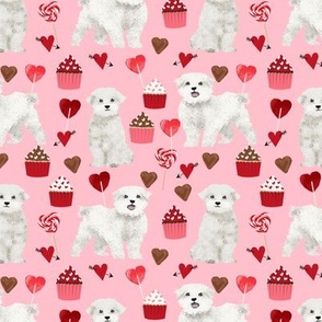 maltese valentines love fabric - pink - cute dog design fabric